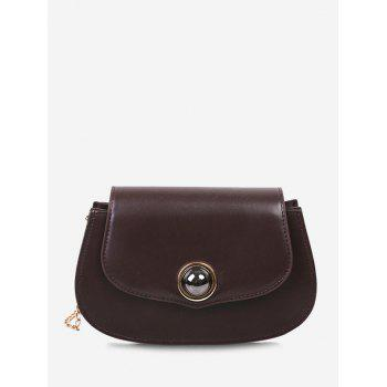 Solid Flap Chain Crossbody Bag - BROWN