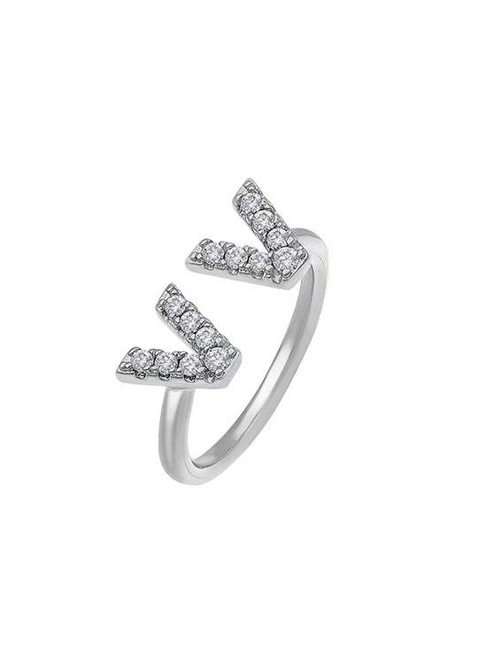 Dual V Zircon Gold Plated Opening Ring - SILVER