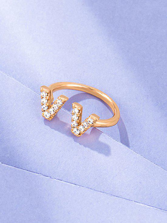 Dual V Zircon Gold Plated Opening Ring - GOLDEN