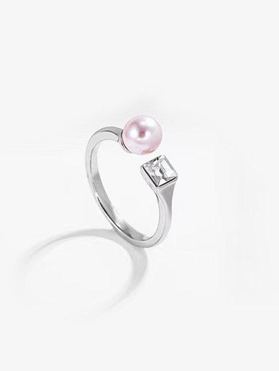 Faux Pearl Square Zircon Opening Ring - SILVER