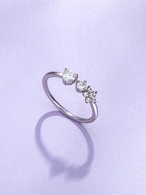 Flower Zircon Inlaid Opening Ring - SILVER