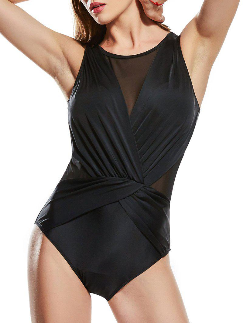 Mesh Insert Twisted One-piece Swimsuit - BLACK 2XL