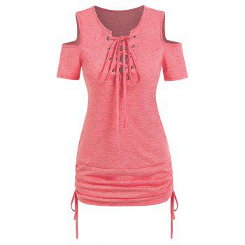 Cold Shoulder Lace Up Cinched Tee
