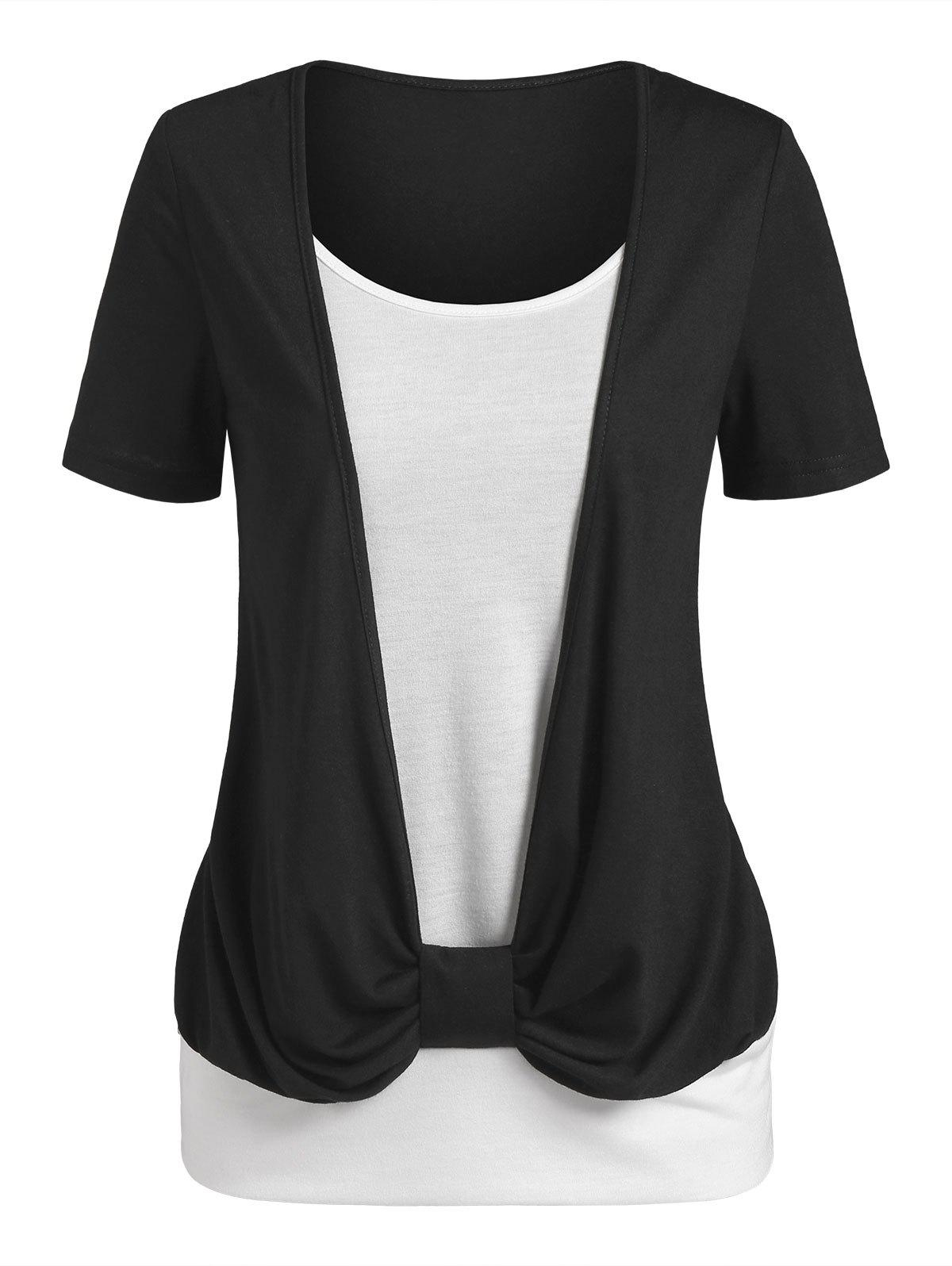 Two Tone Monochrome Faux Twinset T-shirt - BLACK XXL