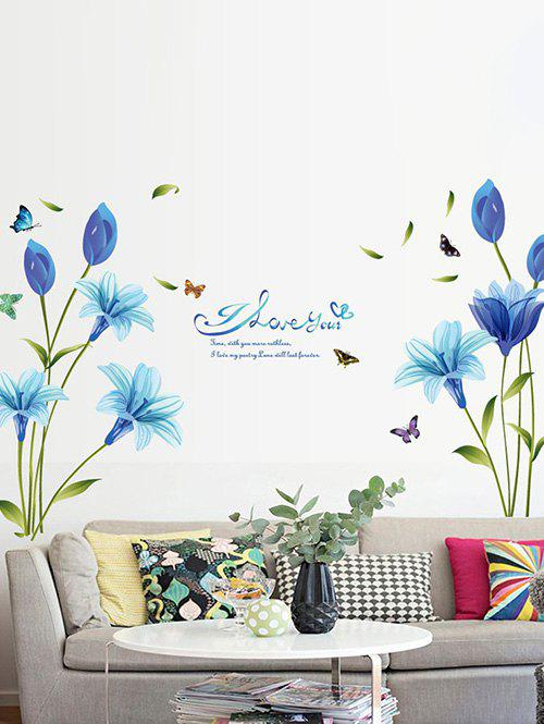 Blue Lily Print Wall Stickers Set - multicolor A 60X90CM