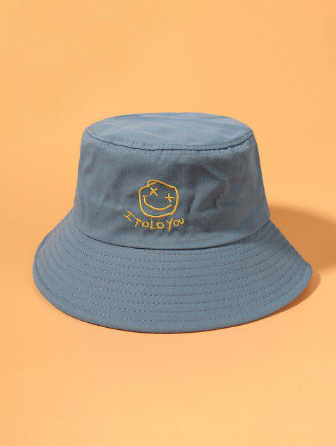 Letters Smile Face Pattern Embroidered Bucket Hat