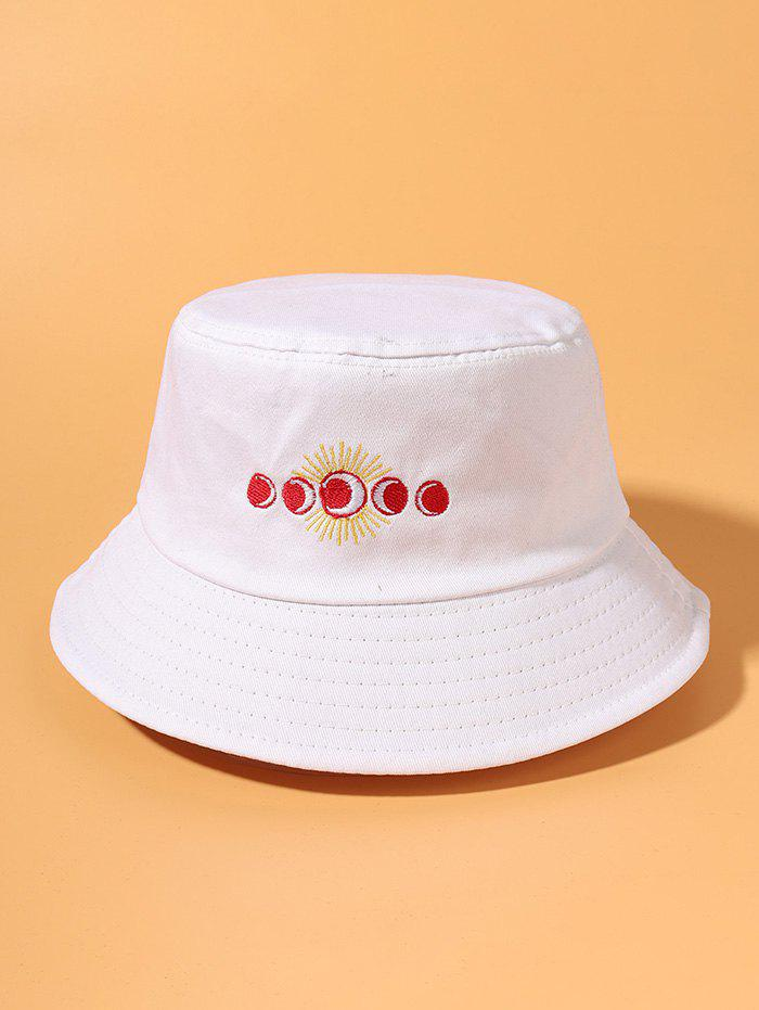 Sun And Moon Embroidered Bucket Hat - WHITE