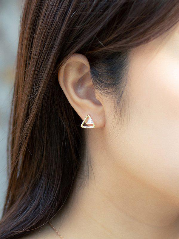 Golden Triangular Zircon Stud Earrings - GOLDEN