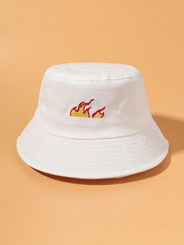 Flame Pattern Embroidered Bucket Hat - WHITE