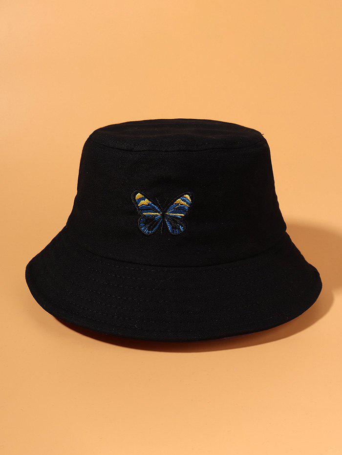 Colored Butterfly Embroidered Bucket Hat - BLACK