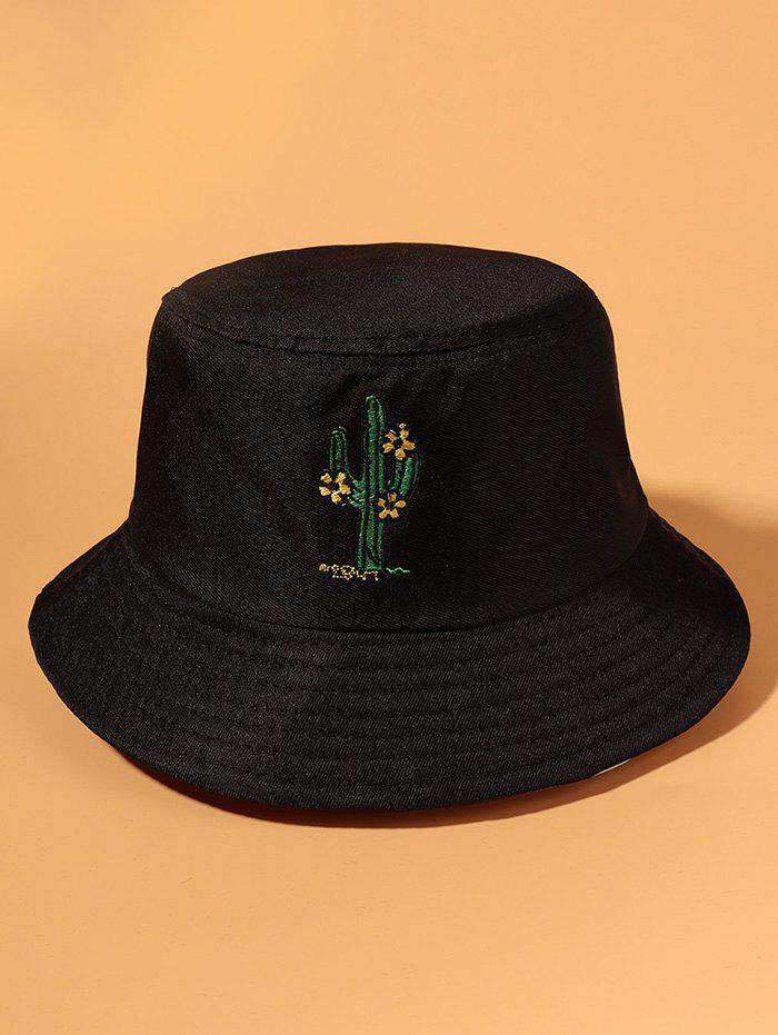 Embroidered Cactus Floral Bucket Hat - BLACK