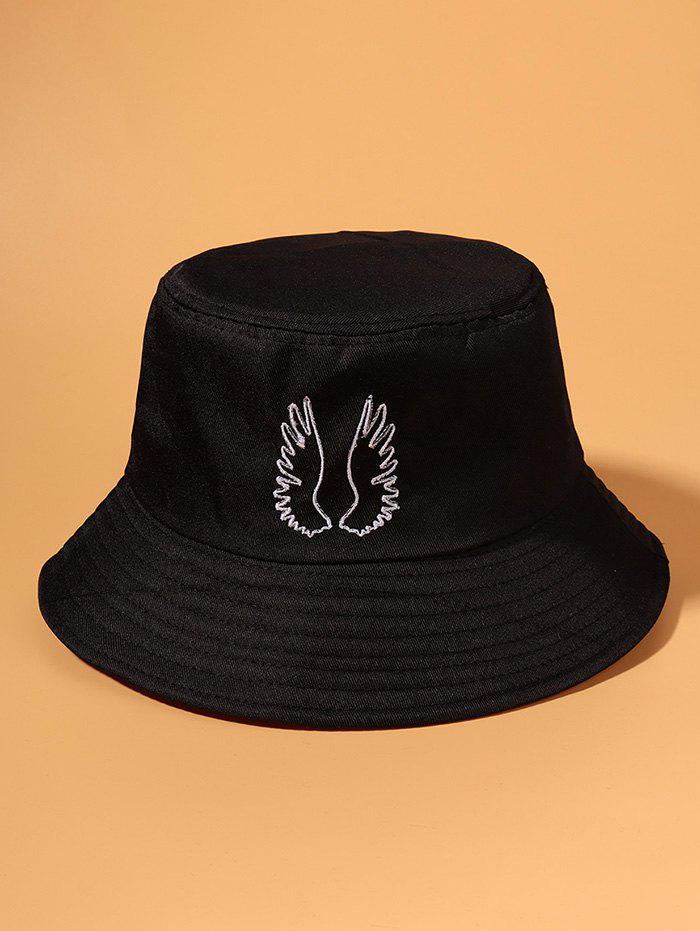 Embroidered Pattern Wing Outdoor Bucket Hat - BLACK