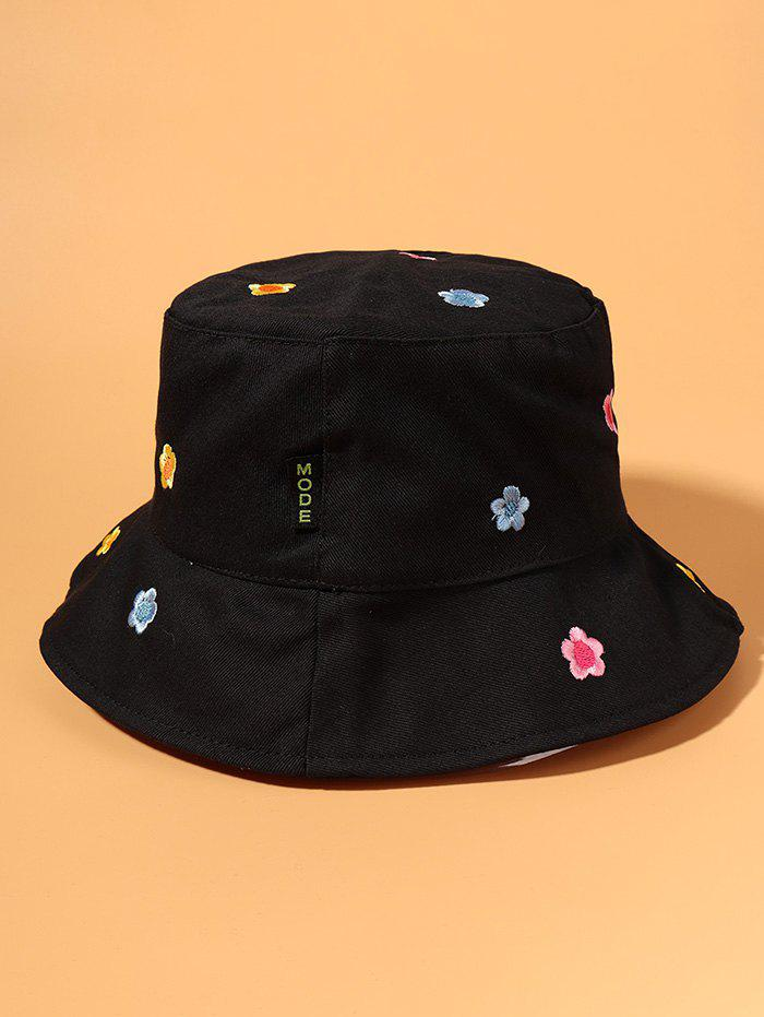 Small Flower Colored Embroidered Bucket Hat - BLACK