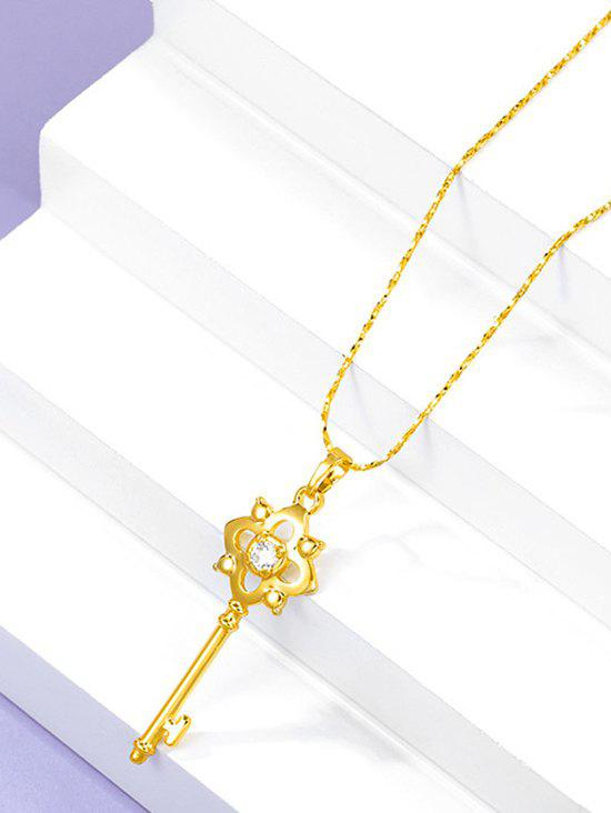 Retro Hollow Out Key Charm Gold Plated Necklace - GOLDEN