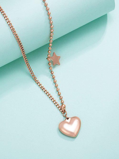 Heart Star Charm Asymmetrical Gold Plated Necklace - GOLDEN