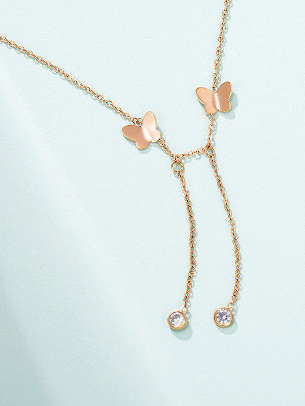 Butterfly Dangle Chain Necklace - ROSE GOLD