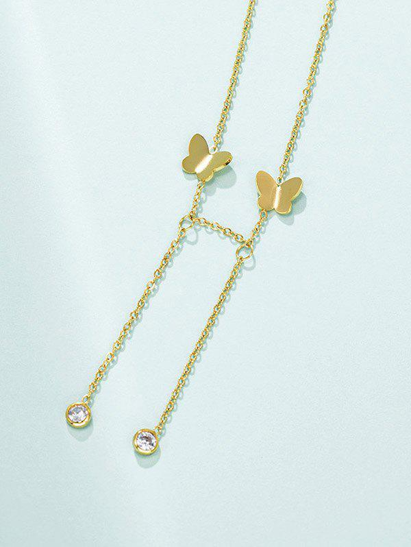 Butterfly Dangle Chain Necklace - GOLDEN