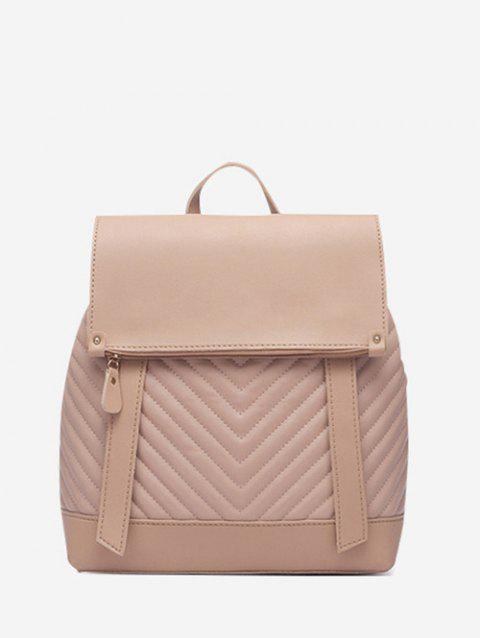 Flap Chevron-Quilted Spliced Backpack