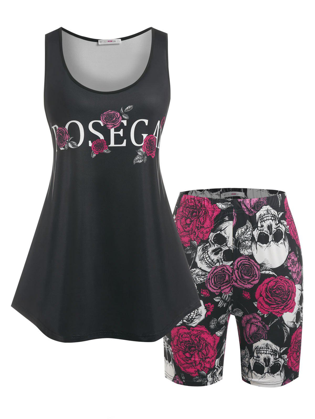 Plus Size Rose Skull Print Top and Shorts Pajamas Set - BLACK 3X
