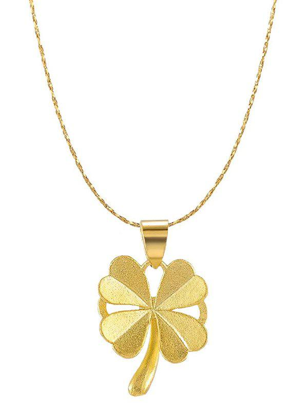 Plated Gold Four-leaf Pendant Chain Necklace - GOLDEN
