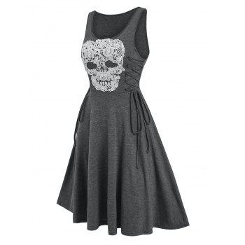 Gothic Lace Up Knee Skull Pattern Length Dress