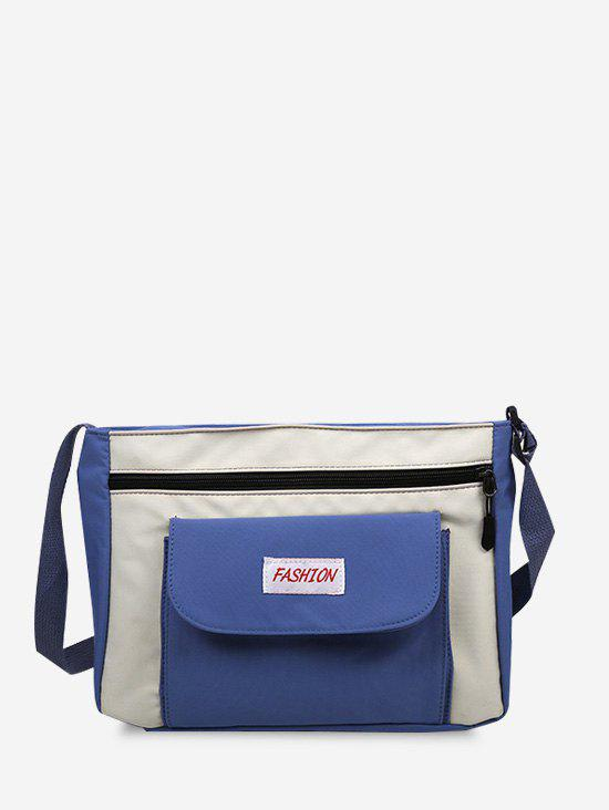 Casual Letter Colorblock Crossbody Bag - BLUEBERRY BLUE