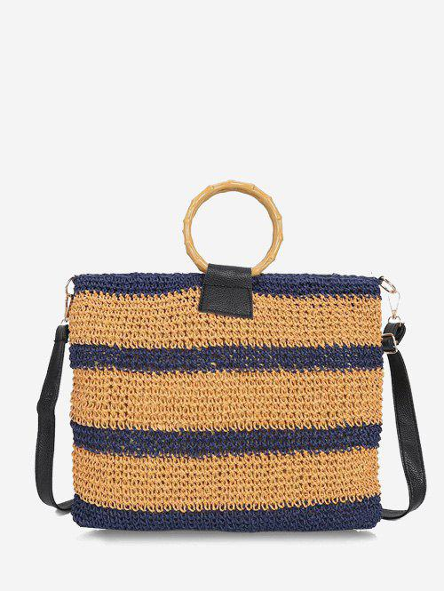Striped Woven Circle Handle Crossbody Bag - LAPIS BLUE