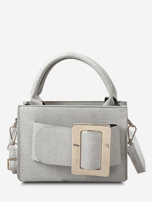 Solid Embossed Buckle Shoulder Bag - LIGHT GRAY