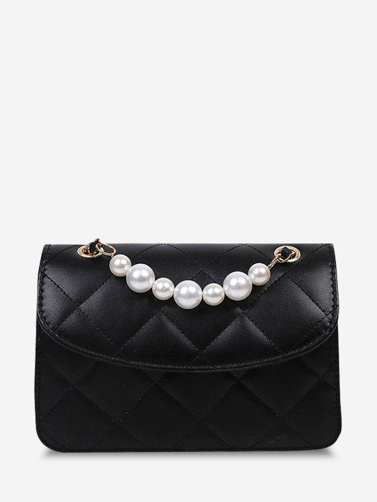 Lattice-Quilted Faux Pearl Crossbody Bag - BLACK