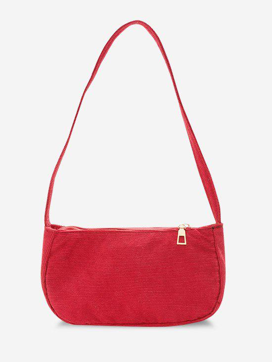 Solid Corduroy Mini Shoulder Bag - RED