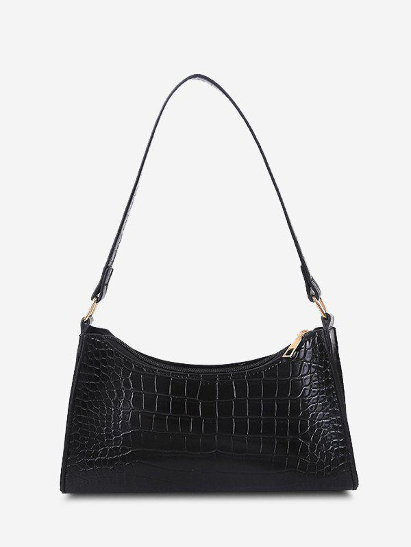 Stone Print Shoulder Bag - BLACK