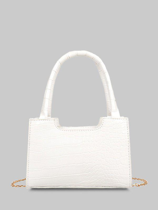 Solid Embossed Double Handle Tote Bag - WHITE