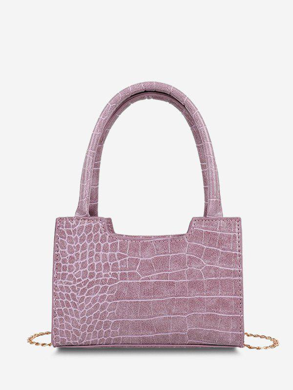 Solid Embossed Double Handle Tote Bag - LILAC