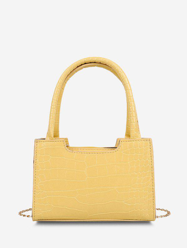 Solid Embossed Double Handle Tote Bag - SUN YELLOW