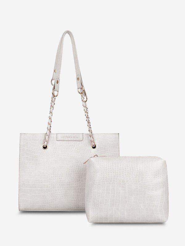 2Pcs Textured Square Chain Shoulder Bag Set - WHITE