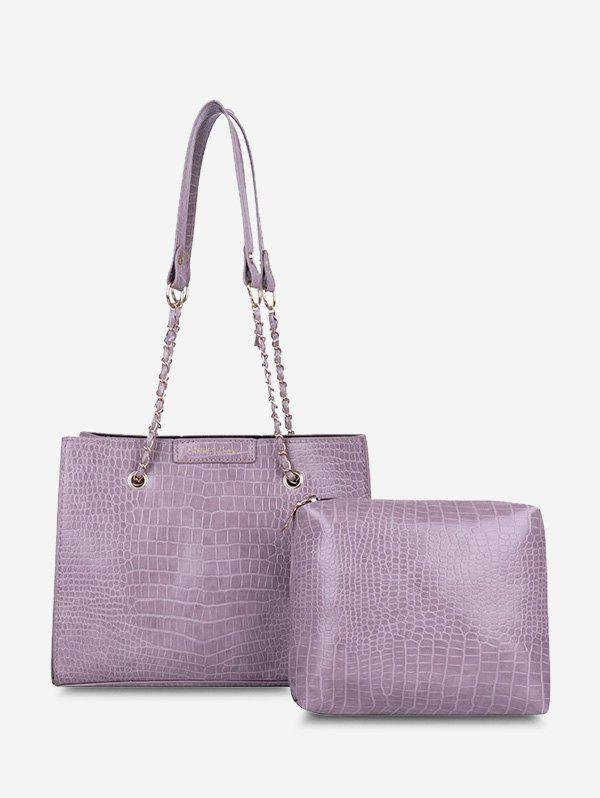 2Pcs Textured Square Chain Shoulder Bag Set - LILAC