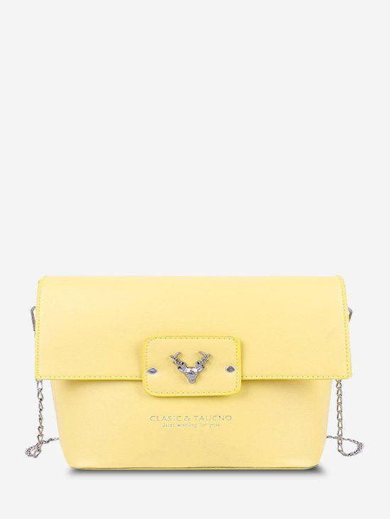 Elk Head Embossed Letter Pattern Bucket Bag - SUN YELLOW