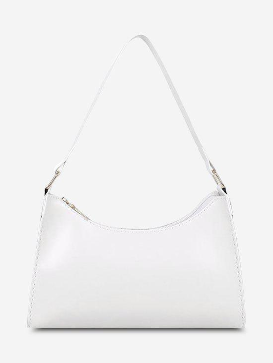 Minimalist Solid PU Shoulder Bag - MILK WHITE