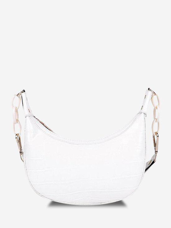 Embossed Chunky Chain Shoulder Bag - WARM WHITE
