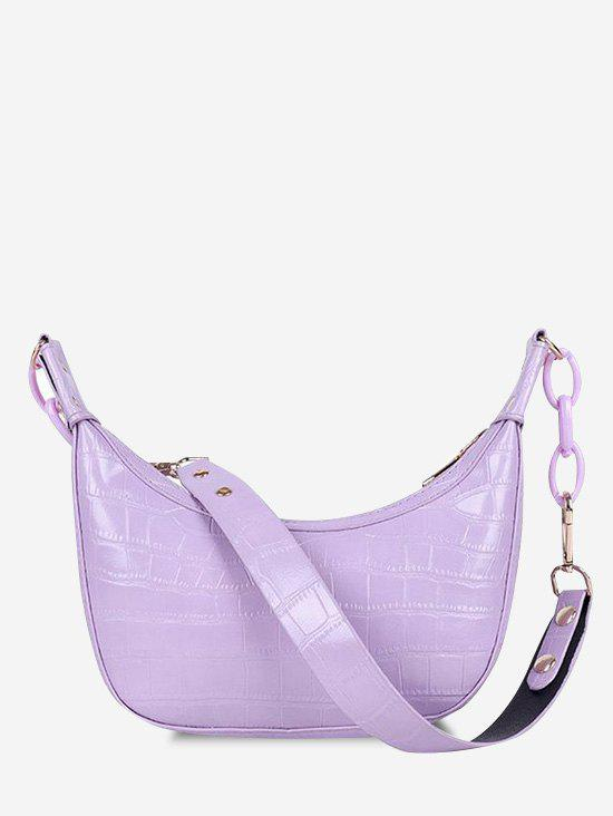 Embossed Chunky Chain Shoulder Bag - LILAC