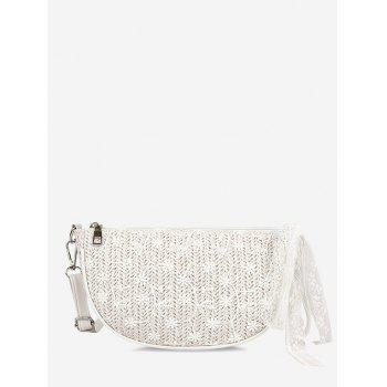 Floral Woven Lace Crossbody Bag