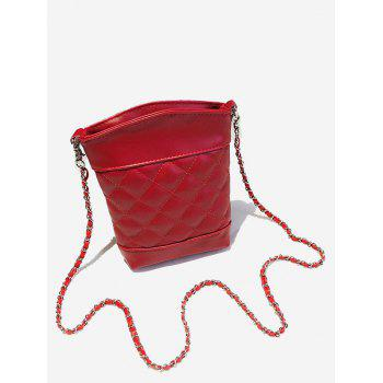 Lattice Quilted Chain Crossbody Bag - RED