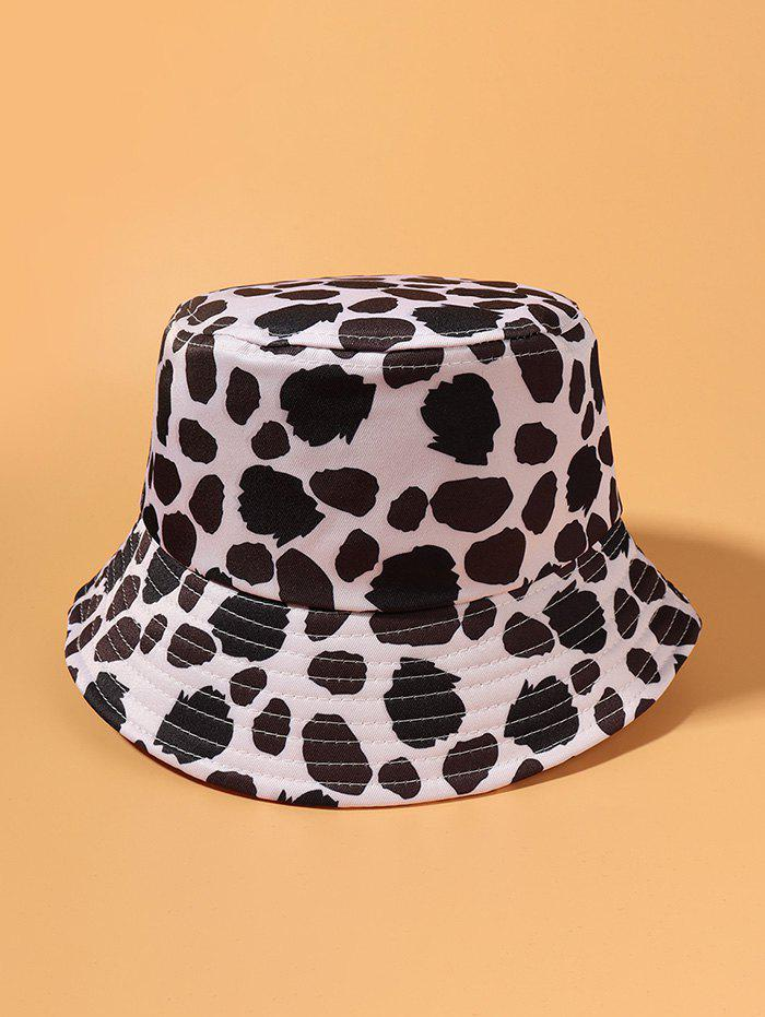 Cow Spot Printed Travel Bucket Hat - WHITE