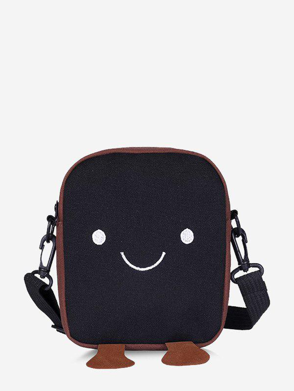 Lovely Smiling Face Crossbody Bag - BLACK