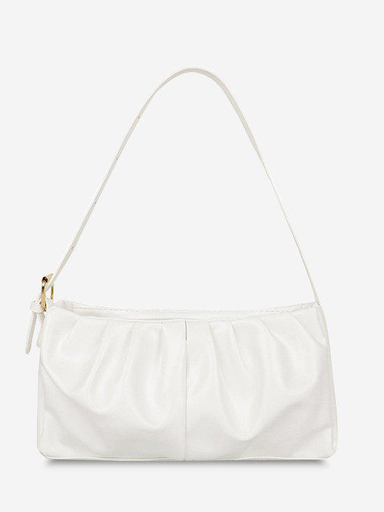 Solid Ruched Soft Shoulder Bag - WHITE