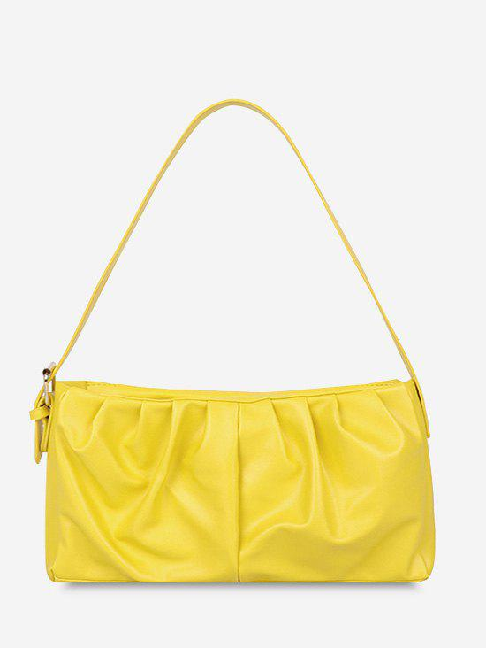 Solid Ruched Soft Shoulder Bag - SUN YELLOW