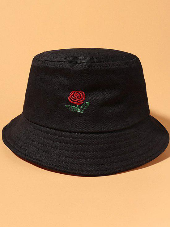 Classic Rose Embroidered Bucket Hat - BLACK