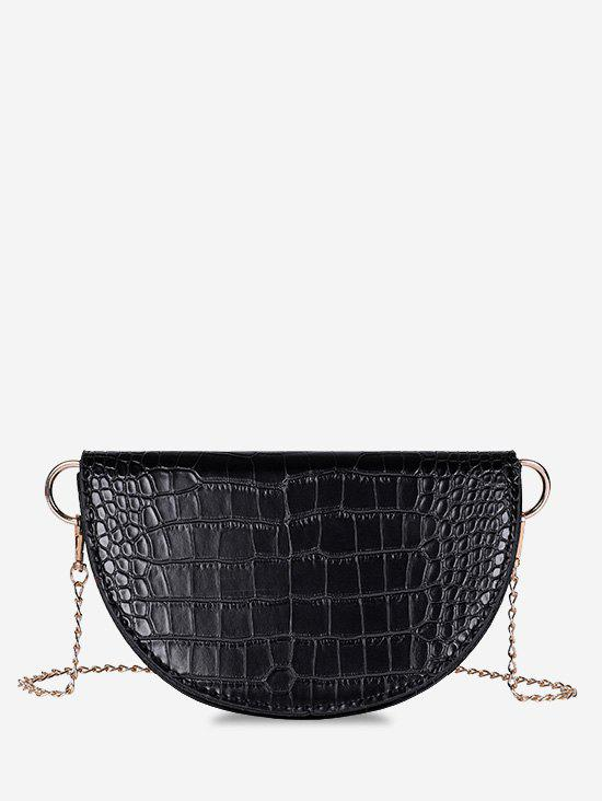 Semicircle Embossed Chain Shoulder Bag - BLACK