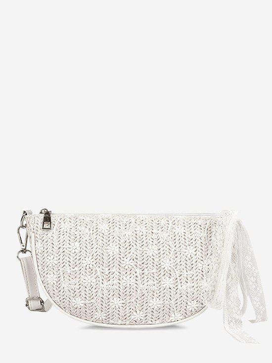 Floral Woven Lace Crossbody Bag - WARM WHITE