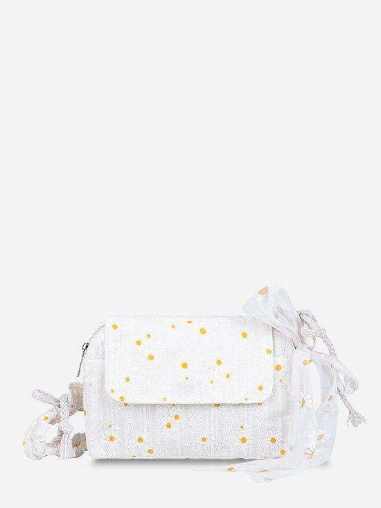 Daisy Embroidered Lace Tied Shoulder Bag - WHITE